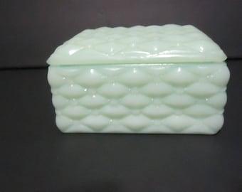 Fenton Jade/Jadeite quilted vanity or dresser box