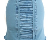 Soy / Certified Organic Cotton Mini Stretch Skirt Soft Blue Color with Crinkle Dyed Ruching