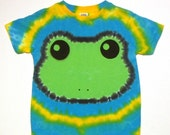 Green Tree Frog Tie Dye Shirt Size 5-6T