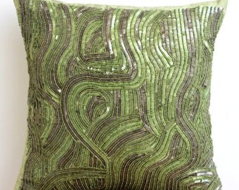 """Designer Green Throw Pillows Cover, 16""""x16"""" Silk Throw Pillows Cover, Square  Sequins & Beaded Sparkly Glitter Pillow Cover - Chlorophyll"""