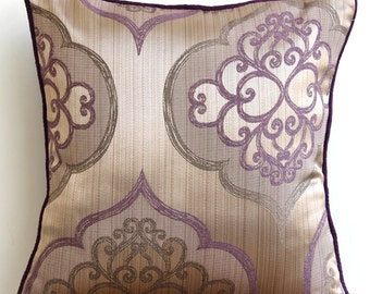 """Luxury Purple Throw Pillows Cover, Damask Pillowcases Square  18""""x18"""" Silk Pillowcase - Damask Purple Galore"""