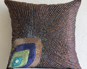 "Brown Cushion Covers, 16""x16"" Silk Pillows Covers For Couch, Square  Peacock Feather Sequins And Beaded Throw Pillows Cover -Peacock Sparkle"