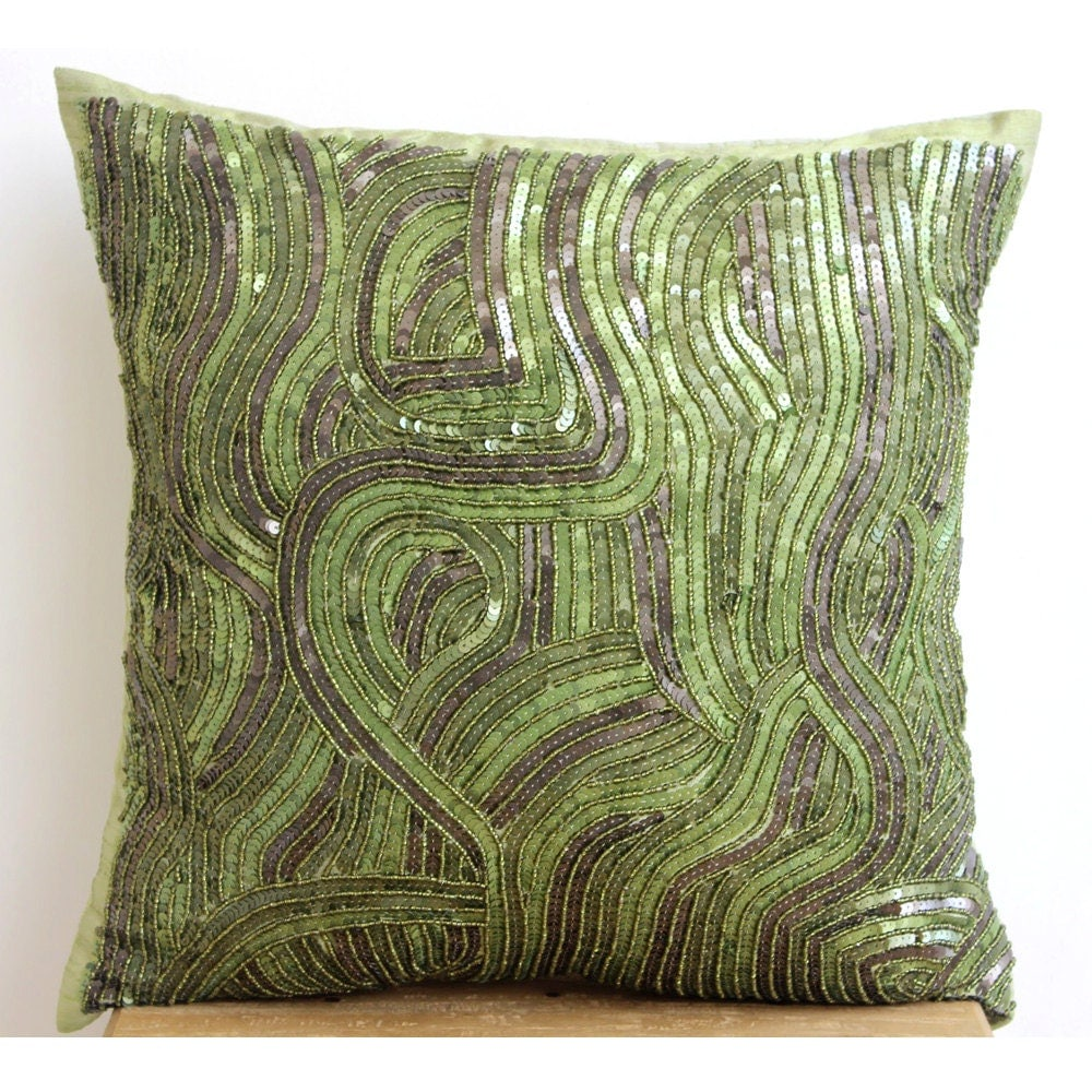 Decorative Throw Pillow Covers 20x20 Green Silk Embroidered