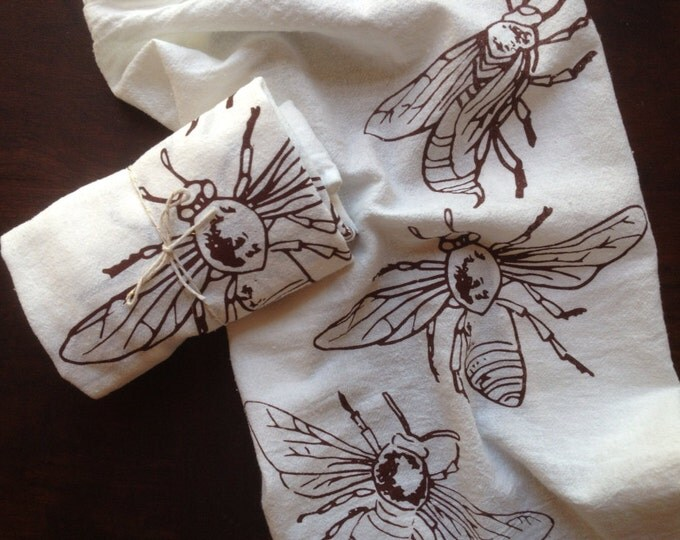 Honey Bees Natural Cotton Cloth Napkins - Set of 2