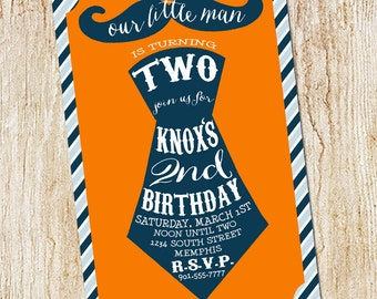 Boy's 2nd Birthday Invitation -  Mustache and Tie Party invitation-- Digial File, print yourself or printed invitations Little Man