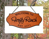 Welcome to the Ranch - Family Name Sign with date - Custom Carved Redwood