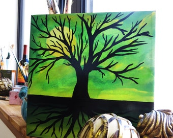 12x12 Sunrise MIDNIGHT GREEN Yellow Moon Original on gallery wrapped canvas...tree roots
