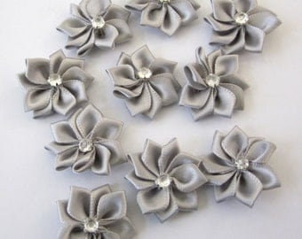 10 Pieces Of Gray Color Satin Ribbon Flowers