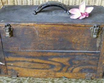 Vintage Industrial Wood Machinist Tool Box, VAN DORN Vibro-Centric Valve Seat Grinder Set-Old Tool Box- Mechanic Tools - Tool Box