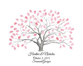 Customizable Fingerprint / Thumbprint Tree Guestbook Alternative Wedding Tree / Family Tree / Anniversary Tree / First Communion Tree