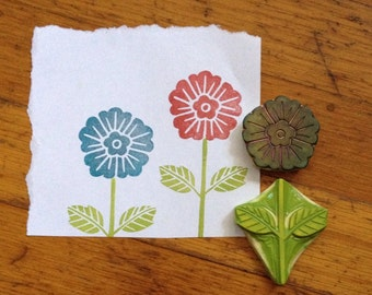 Hand Carved Flower Stamp Set