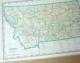 MONTANA 1930s retro state map . paper ephemera . wall decor . vintage map