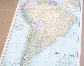 Map SOUTH AMERICA atlas 1930s retro map paper ephemera wall decor vintage book page antique DIY craft supply geography atlas map