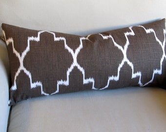 Ikat Coffee decorative designer lumbar bolster pillow 12x26 with insert