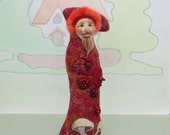 OOAK Art Doll - Embroidered Textile Figurine - red