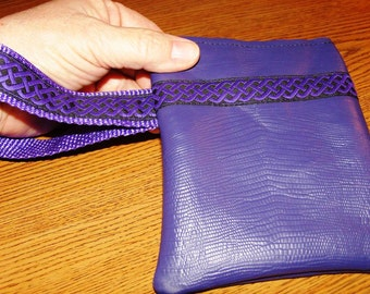 Deep Purple Embossed LEATHER Wristlet Wallet w/Embroidered trim