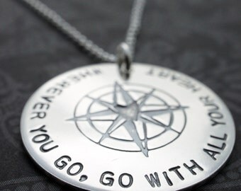 Graduation Gifts - Wherever You Go, Go With All Your Heart - Sterling Silver Compass Necklace - Inspirational Jewelry Gifts for the Traveler