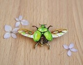 Art Jewelry Handmade Pin Brooch Scarab Insect Beetle Bug Painted Green Chartruse