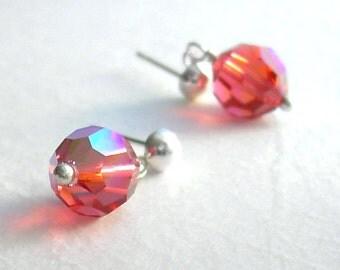 Tangerine Orange Crystal Earrings, Swarovski Crystal Post Earrings, Orange Jewelry