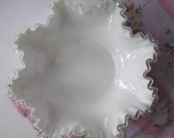 Fenton Milk Glass Silver Crest Large Serving Bowl - Vintage Chic Weddings Bridal