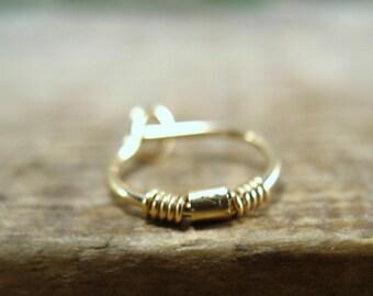 Single Hoop Earrings Gold Split Wrap Gold Bead SINGLE - Endless Hoop, Continuous Hoop, Seamless Hoop, Daith Piercing, Rook Piercing