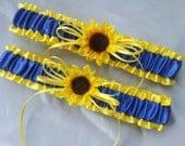 Sunflower Bridal Garter Set Sunshine Yellow Royal Blue Wedding Garter