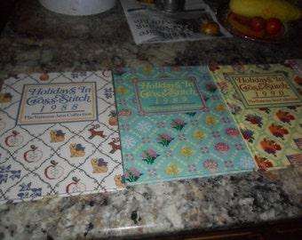 """4 Vintage Vanessa-Ann's """"Holidays In Cross Stitch"""" dated 1988 thru 1991"""