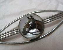 Horse Brooch Sterling Brown Vintage Pin Amco