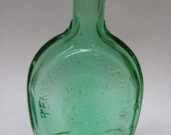 Green Bottle Glass Ben Franklin Miniature