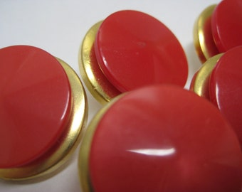 Red Gold Round Buttons Vintage Plastic Five