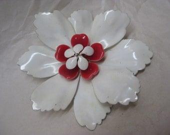 Flower Enamel Brooch White Red Vintage Pin