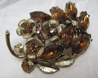 Brown Amber Flower Gold Rhinestone Brooch Vintage Pin
