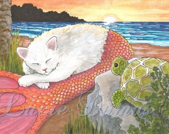 Art print 5x7 Cat Mermaid 26 Turtle beach from funny painting by Lucie Dumas