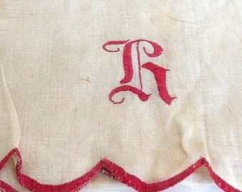 Vintage Red Embroidered Ivory Linen Dresser Scarf with Scalloped Edging