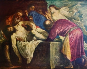 The Entombment, by Titian - a Frameable Vintage 1955 Art Print