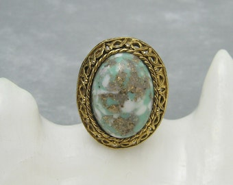Large Glass Ring Vintage Costume Jewelry X26