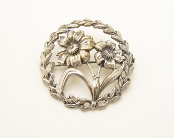 Sterling Daisy Brooch Vintage Flower Jewelry P6009