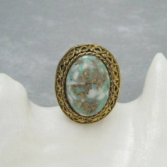 large glass ring vintage costume jewelry x26 by