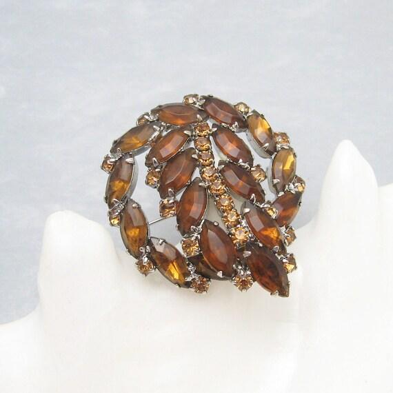 Vintage Rhinestone Brooch Brown and Amber Leaf Jewelry P2366