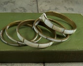 SALE WAS 25 Set of 5 Brass and Shell Bangle Bracelets dh