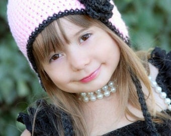 Girls crochet hat - ear flap hat - Toddler hat - Infant hat - Winter hat - gray hat - flower hat - newborn hat - pink hat - baby girl hat