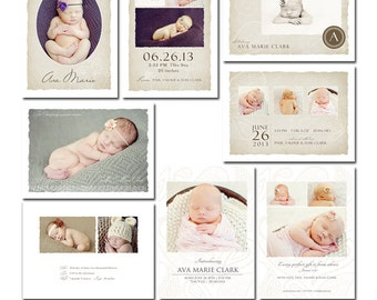 Soft Linen Birth Announcement Collection - For Any Occasion - 8 Files - Photoshop Templates for Photographers - CS0006