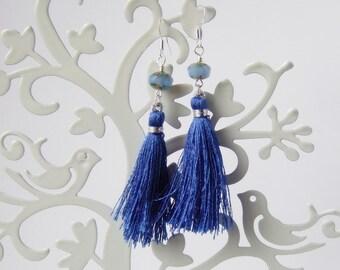 Jaipur Earrings in  Sapphire - Silk Tassel Earrings.