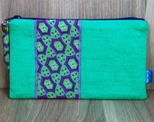 Purse - Wallet - Money Pouch - Coin Purse - Two Zip Pockets - Ladies - Card holder - Emerald Green - Purple - Lilac - Abstract