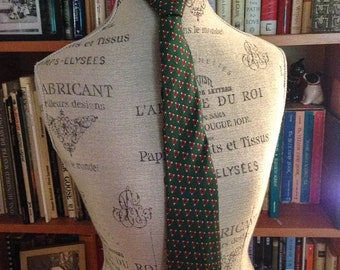1960s Men's Pilgrim Custom Cravat Green Silk Tie