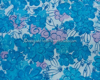 Blue Daisy Patch  - Vintage Fabric New Old Stock Mod all over Daisies