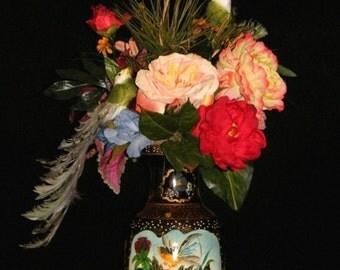 Zen Asian Couture Silk Flower Arrangement, Peonies, Feather Birds, Papyrus Grass