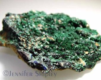 Malachite Azurite Specimen on Matrix, Raw Uncut Healing Gemstone Crystal, Mineral Collection, Heart Chakra, Green, Morocco, DoodlepunkArt