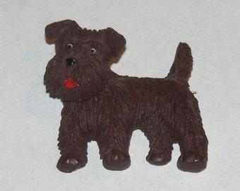 Vintage Celluloid Nodder Terrier Dog Pin Brooch marked czechoslovakia