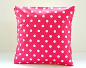 cerise pink and white polka dot cushion cover, 16 inch dots decorative pillow cover